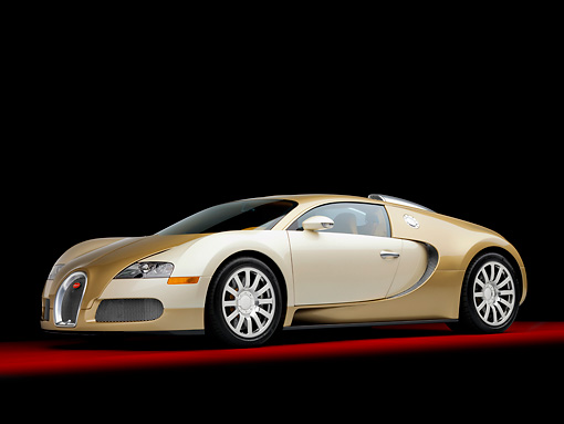 AUT 02 RK0114 01 © Kimball Stock 2008 Bugatti Veyron 16.4 Grand Sport Roadster Gold And White 3/4 Front View Studio