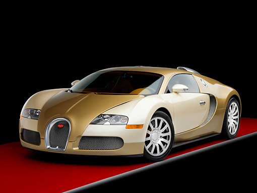 AUT 02 RK0115 01 © Kimball Stock 2008 Bugatti Veyron 16.4 Grand Sport Roadster Gold And White 3/4 Front View Studio