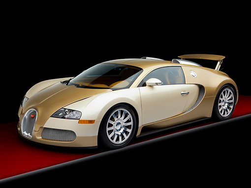 AUT 02 RK0117 01 © Kimball Stock 2008 Bugatti Veyron 16.4 Grand Sport Roadster Gold And White 3/4 Front View Studio