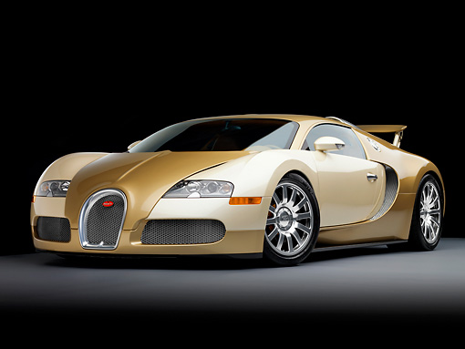 AUT 02 RK0118 01 © Kimball Stock 2008 Bugatti Veyron 16.4 Grand Sport Roadster Gold And White 3/4 Front View Studio
