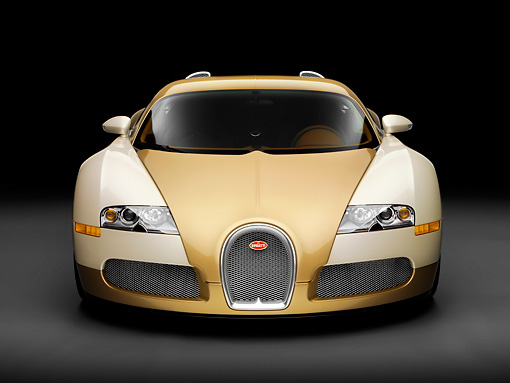 AUT 02 RK0119 01 © Kimball Stock 2008 Bugatti Veyron 16.4 Grand Sport Roadster Gold And White Front View Studio