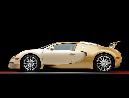 AUT 02 RK0120 01 © Kimball Stock 2008 Bugatti Veyron 16.4 Grand Sport Roadster Gold And White Profile View Studio