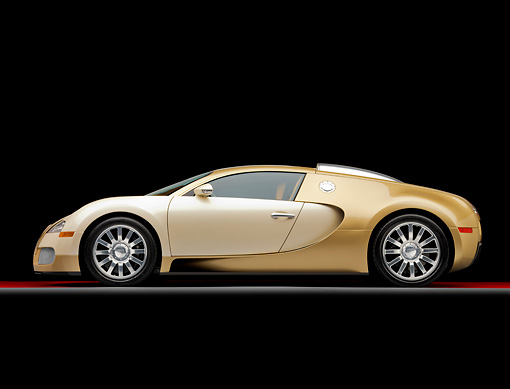 AUT 02 RK0121 01 © Kimball Stock 2008 Bugatti Veyron 16.4 Grand Sport Roadster Gold And White Profile View Studio