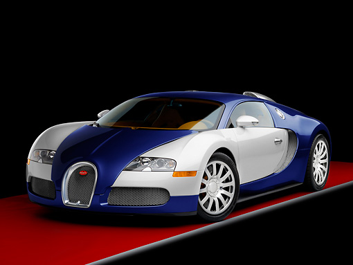 AUT 02 RK0125 01 © Kimball Stock 2008 Bugatti Veyron 16.4 Grand Sport Roadster Blue And Silver 3/4 Front View Studio