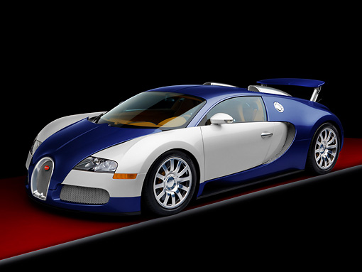 AUT 02 RK0126 01 © Kimball Stock 2008 Bugatti Veyron 16.4 Grand Sport Roadster Blue And Silver 3/4 Front View Studio