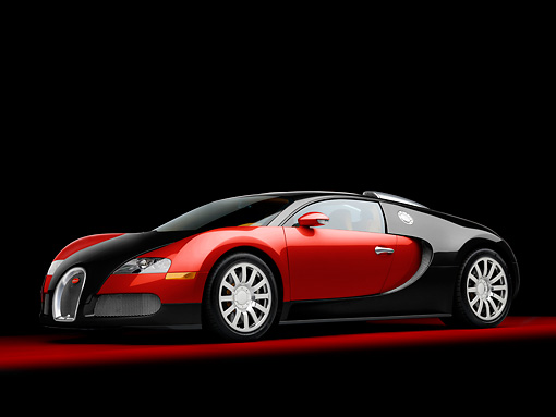 AUT 02 RK0127 01 © Kimball Stock 2008 Bugatti Veyron 16.4 Grand Sport Roadster Red And Black 3/4 Front View Studio