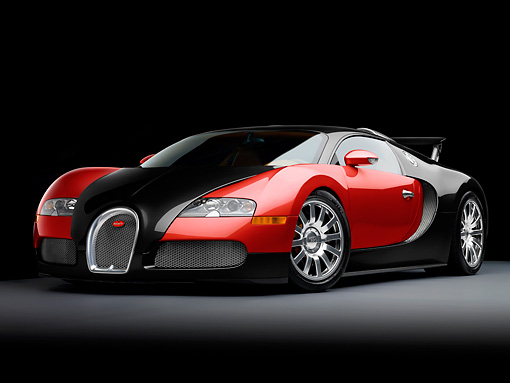 AUT 02 RK0128 01 © Kimball Stock 2008 Bugatti Veyron 16.4 Grand Sport Roadster Red And Black 3/4 Front View Studio