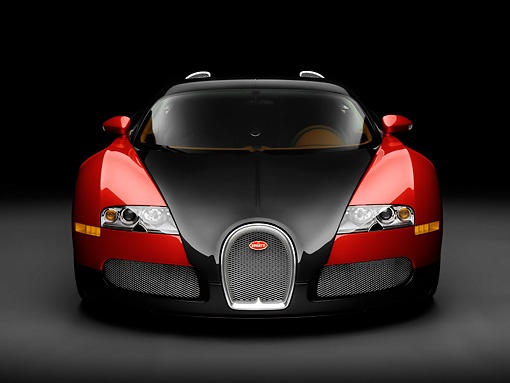 AUT 02 RK0129 01 © Kimball Stock 2008 Bugatti Veyron 16.4 Grand Sport Roadster Red And Black Front View Studio