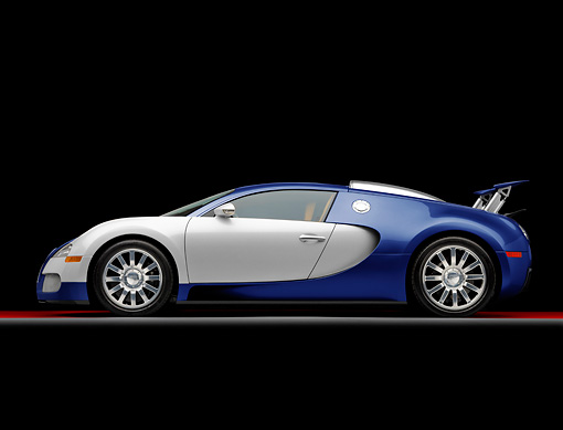 AUT 02 RK0130 01 © Kimball Stock 2008 Bugatti Veyron 16.4 Grand Sport Roadster Blue And Silver Profile View Studio