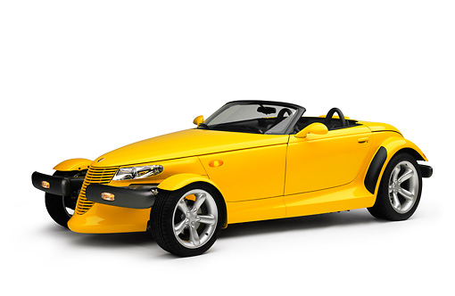 AUT 03 RK0004 03 © Kimball Stock 1999 Plymouth Prowler Roadster Yellow 3/4 Side View On White Seamless