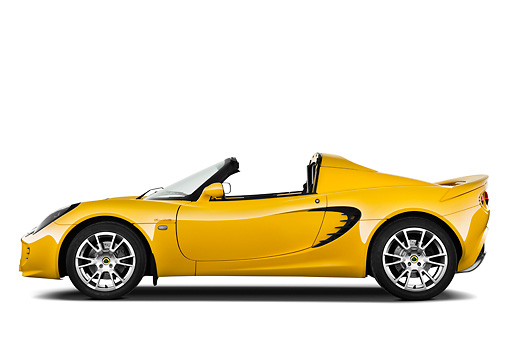 AUT 04 IZ0010 01 © Kimball Stock 2010 Lotus Elise SC Yellow Profile View On White Seamless