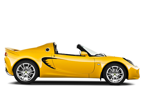 AUT 04 IZ0011 01 © Kimball Stock 2010 Lotus Elise SC Yellow Profile View On White Seamless