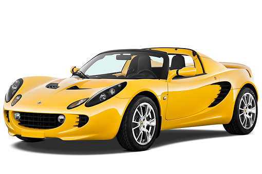 AUT 04 IZ0012 01 © Kimball Stock 2010 Lotus Elise SC Yellow 3/4 Front View On White Seamless