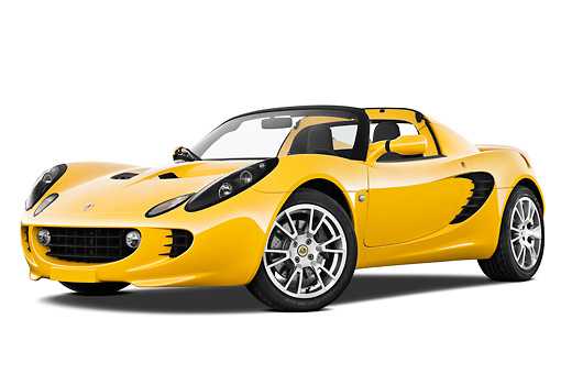 AUT 04 IZ0013 01 © Kimball Stock 2010 Lotus Elise SC Yellow 3/4 Front View On White Seamless