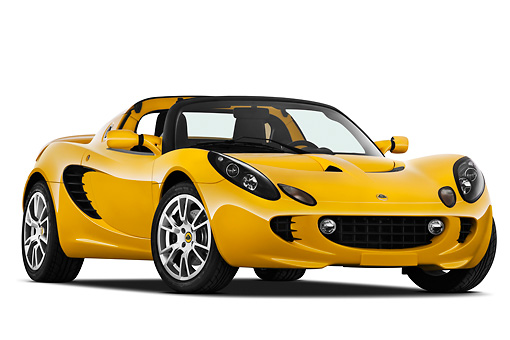 AUT 04 IZ0014 01 © Kimball Stock 2010 Lotus Elise SC Yellow 3/4 Front View On White Seamless