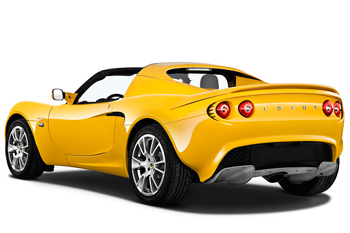 AUT 04 IZ0015 01 © Kimball Stock 2010 Lotus Elise SC Yellow 3/4 Rear View On White Seamless