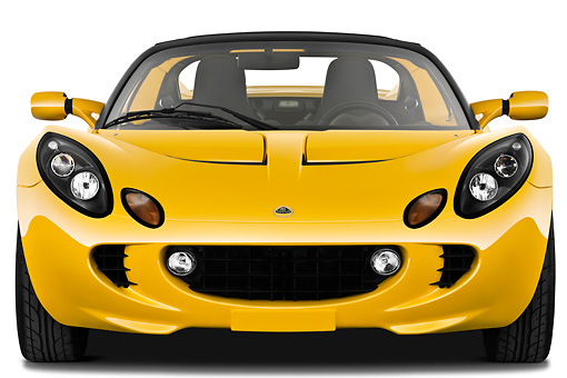 AUT 04 IZ0016 01 © Kimball Stock 2010 Lotus Elise SC Yellow Head On View On White Seamless