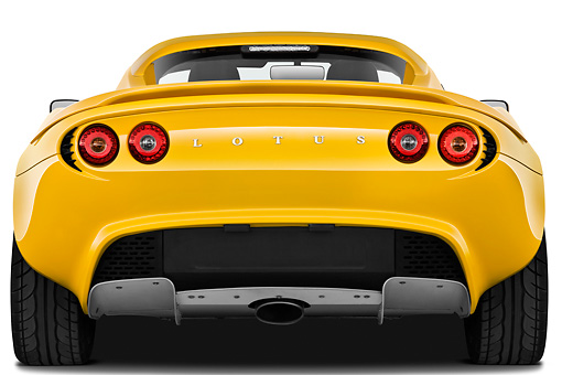 AUT 04 IZ0017 01 © Kimball Stock 2010 Lotus Elise SC Yellow Rear View On White Seamless