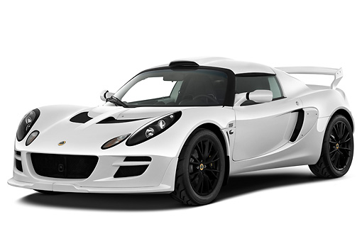 AUT 04 IZ0020 01 © Kimball Stock 2010 Lotus Exige S White 3/4 Front View On White Seamless