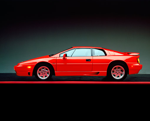 AUT 04 RK0008 02 © Kimball Stock 1990 Lotus Esprit Turbo Red Profile On Red Line Studio
