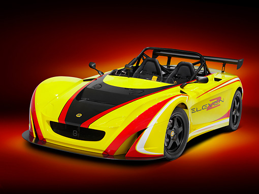 AUT 04 RK0169 01 © Kimball Stock Lotus 2-Eleven Race Car Yellow And Red 3/4 Front View Studio