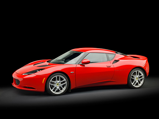 AUT 04 RK0170 01 © Kimball Stock 2013 Lotus Evora Red 3/4 Side View In Studio