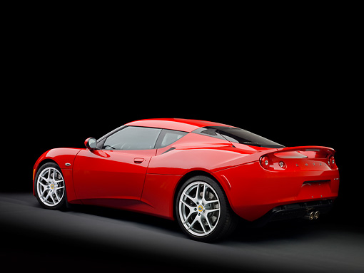 AUT 04 RK0174 01 © Kimball Stock 2013 Lotus Evora Red 3/4 Rear View In Studio
