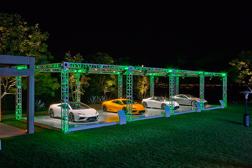 AUT 04 RK0177 01 © Kimball Stock Group Of Lotus Concept Cars On Lighted Platform