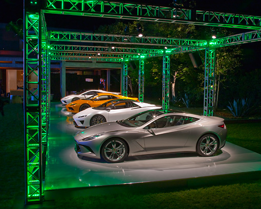 AUT 04 RK0178 01 © Kimball Stock Group Of Lotus Concept Cars On Lighted Platform