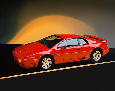 AUT 04 RK0006 01 © Kimball Stock 1990 Lotus Esprit Turbo Red Overhead 3/4 Side View Yellow Shading Studio