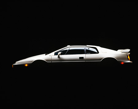AUT 04 RK0022 02 © Kimball Stock 1988 Lotus Esprit Turbo White Profile Studio