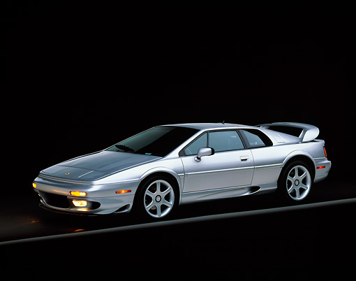 AUT 04 RK0039 01 © Kimball Stock 1999 Lotus Esprit V8 Silver Side 3/4 View On Gray Line Studio