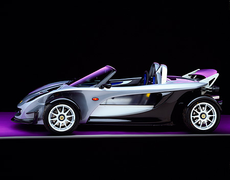 AUT 04 RK0066 05 © Kimball Stock 2000 Lotus Elise 340R Profile Purple Floor Gray Line Studio