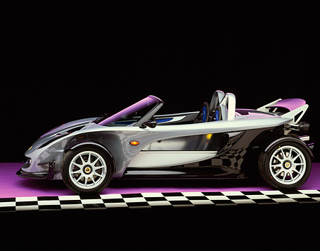 AUT 04 RK0067 03 © Kimball Stock 2000 Lotus Elise 340R Profile On Purple Floor Checkered Line Studio