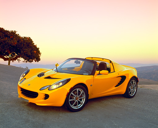 AUT 04 RK0118 02 © Kimball Stock 2003 Lotus Elise Yellow 3/4 Side View On Pavement Hill By Tree