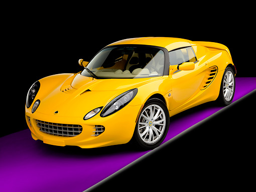 AUT 04 RK0159 01 © Kimball Stock 2008 Lotus Elise California Yellow 3/4 Front View Studio