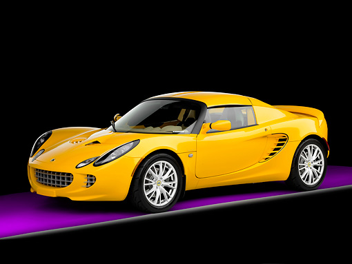 AUT 04 RK0160 01 © Kimball Stock 2008 Lotus Elise California Yellow 3/4 Front View Studio