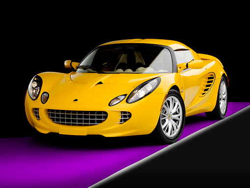 AUT 04 RK0161 01 © Kimball Stock 2008 Lotus Elise California Yellow 3/4 Front View Studio