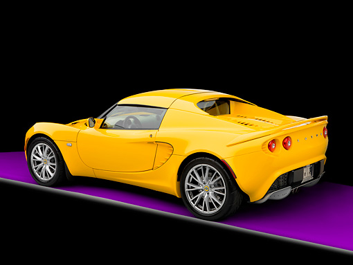 AUT 04 RK0162 01 © Kimball Stock 2008 Lotus Elise California Yellow 3/4 Rear View Studio