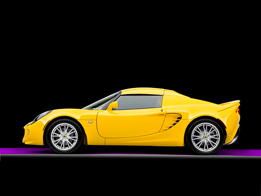 AUT 04 RK0163 01 © Kimball Stock 2008 Lotus Elise California Yellow Profile View Studio