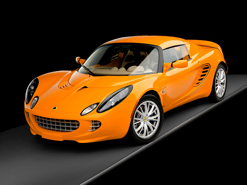 AUT 04 RK0164 01 © Kimball Stock 2008 Lotus Elise California Orange 3/4 Front View Studio