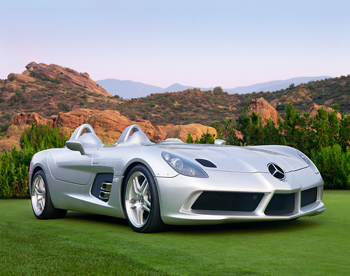 AUT 05 BK0001 01 © Kimball Stock 2009 Mercedes-Benz McLaren SLR Stirling Moss Roadster Silver 3/4 Front View On Grass