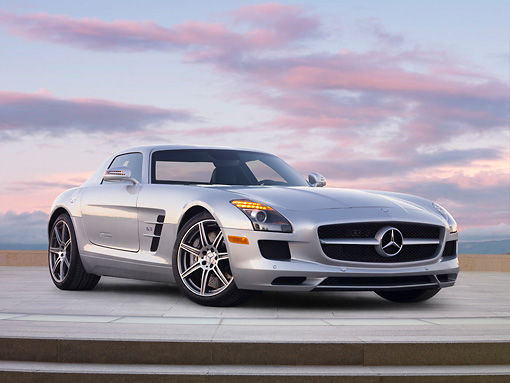 AUT 05 BK0006 01 © Kimball Stock 2011 Mercedes-Benz SLS AMG Silver Profile View On Concrete Steps At Dusk