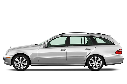 AUT 05 IZ0030 01 © Kimball Stock 2011 Mercedes-Benz E350 Station Wagon Silver Profile View Studio