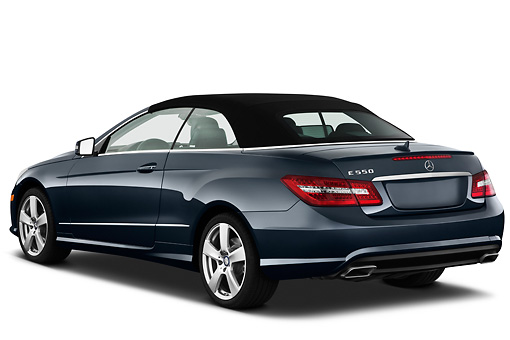 AUT 05 IZ0043 01 © Kimball Stock 2011 Mercedes-Benz E550 Convertible Dark Gray 3/4 Rear View On White Seamless