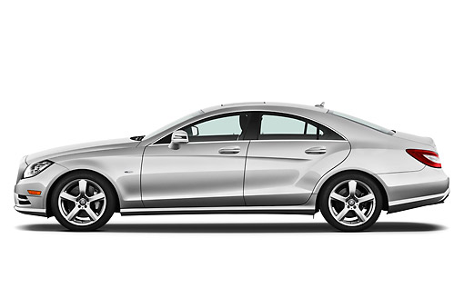 AUT 05 IZ0051 01 © Kimball Stock 2013 Mercedes-Benz CLS Class Silver Profile View On White Seamless