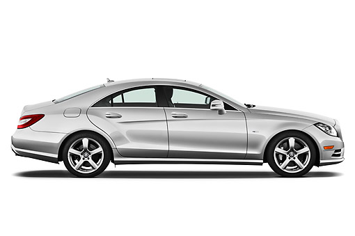 AUT 05 IZ0052 01 © Kimball Stock 2013 Mercedes-Benz CLS Class Silver Profile View On White Seamless