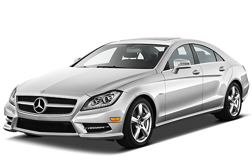 AUT 05 IZ0053 01 © Kimball Stock 2013 Mercedes-Benz CLS Class Silver 3/4 Front View On White Seamless