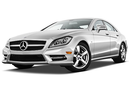 AUT 05 IZ0055 01 © Kimball Stock 2013 Mercedes-Benz CLS Class Silver 3/4 Front View On White Seamless