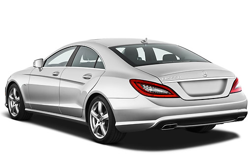 AUT 05 IZ0056 01 © Kimball Stock 2013 Mercedes-Benz CLS Class Silver 3/4 Rear View On White Seamless